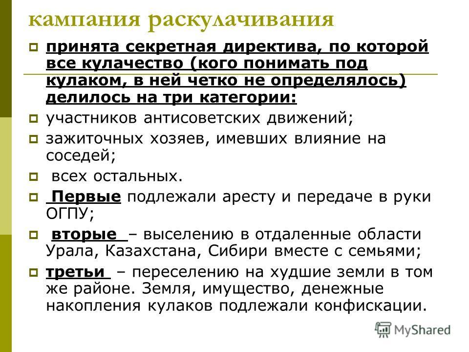 кампания раскулачивания принята секретная директива, по которой все кулачество (кого понимать под кулаком, в ней четко не определялось) делилось на три категории: участников антисоветских движений; зажиточных хозяев, имевших влияние на соседей; всех