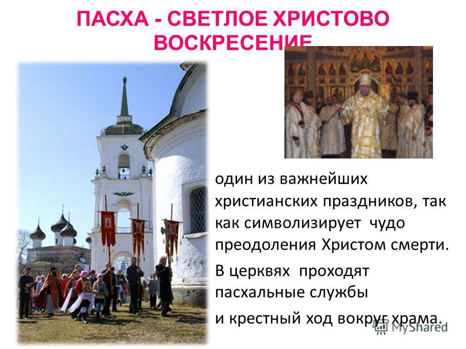 ПАСХА - СВЕТЛОЕ ХРИСТОВО ВОСКРЕСЕНИЕ один из важнейших христианских праздников, так как символизирует чудо преодоления Христом смерти. В церквях проходят пасхальные службы и крестный ход вокруг храма.