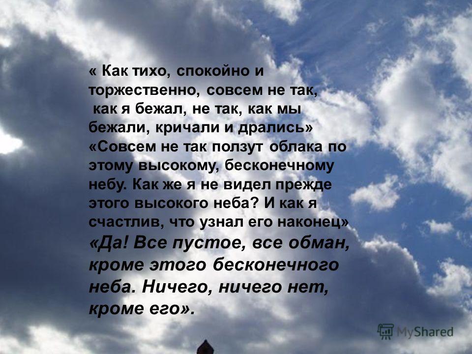 « Как тихо, спокойно и торжественно, совсем не так, как я бежал, не так, как мы бежали, кричали и дрались» «Совсем не так ползут облака по этому высокому, бесконечному небу. Как же я не видел прежде этого высокого неба? И как я счастлив, что узнал ег
