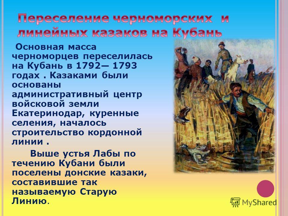 Основная масса черноморцев переселилась на Кубань в 1792 1793 годах. Казаками были основаны административный центр войсковой земли Екатеринодар, куренные селения, началось строительство кордонной линии. Выше устья Лабы по течению Кубани были поселены