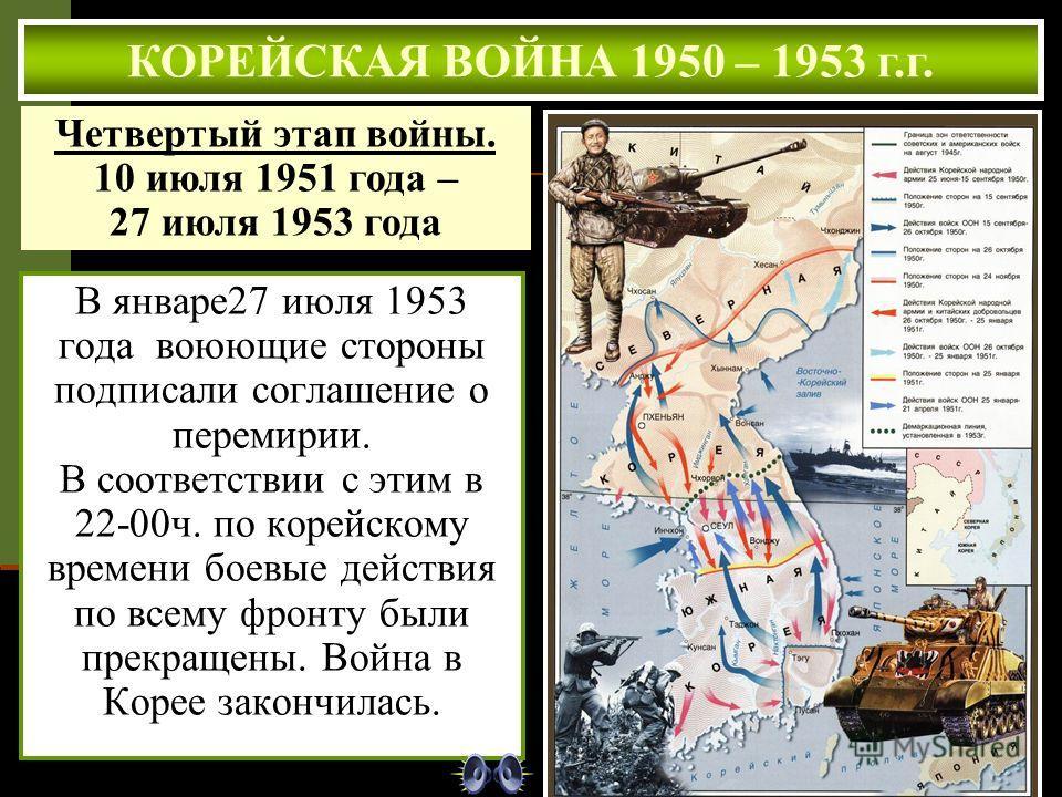 В январе27 июля 1953 года воюющие стороны подписали соглашение о перемирии. В соответствии с этим в 22-00ч. по корейскому времени боевые действия по всему фронту были прекращены. Война в Корее закончилась. КОРЕЙСКАЯ ВОЙНА 1950 – 1953 г.г. Четвертый э
