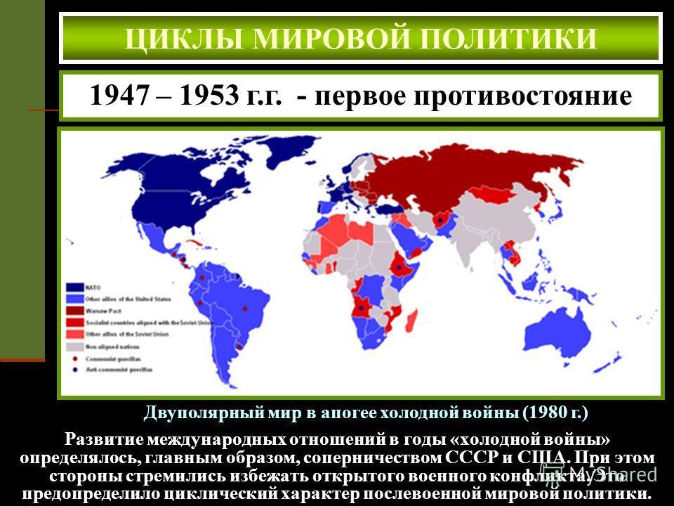 ЦИКЛЫ МИРОВОЙ ПОЛИТИКИ Двуполярный мир в апогее холодной войны (1980 г.) 1947 – 1953 г.г. - первое противостояние Развитие международных отношений в годы «холодной войны» определялось, главным образом, соперничеством СССР и США. При этом стороны стре