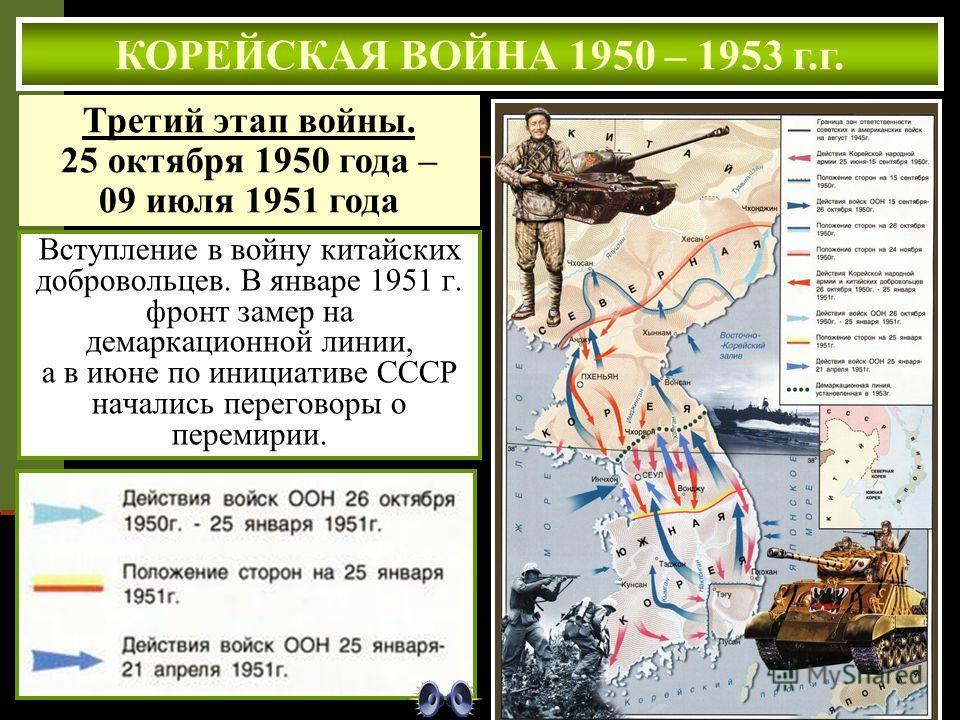 Вступление в войну китайских добровольцев. В январе 1951 г. фронт замер на демаркационной линии, а в июне по инициативе СССР начались переговоры о перемирии. КОРЕЙСКАЯ ВОЙНА 1950 – 1953 г.г. Третий этап войны. 25 октября 1950 года – 09 июля 1951 года