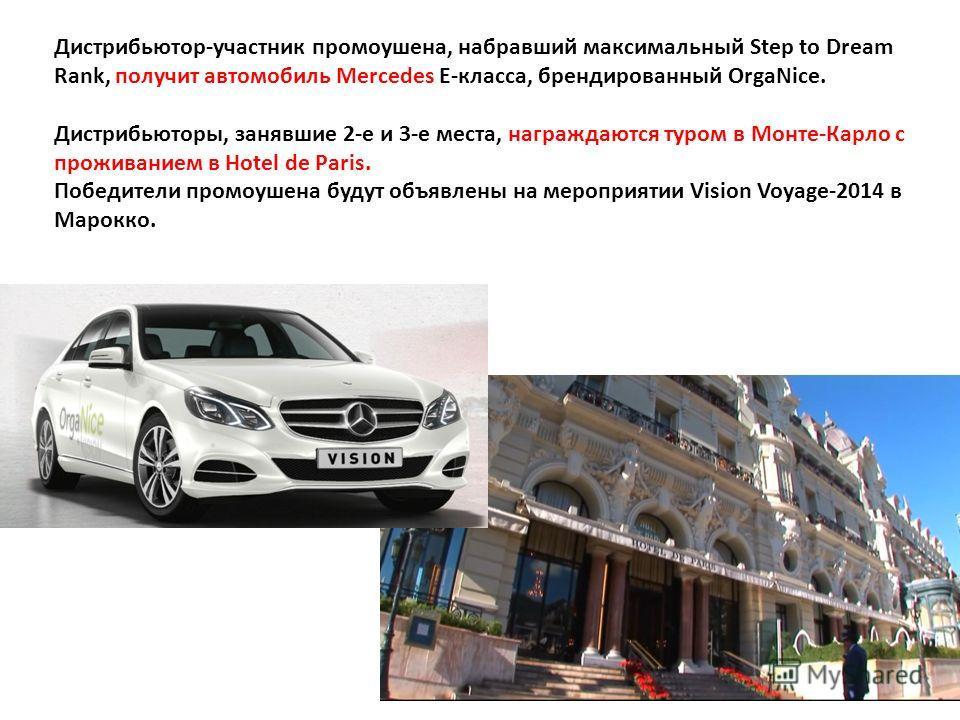 Дистрибьютор-участник промоушена, набравший максимальный Step to Dream Rank, получит автомобиль Mercedes E-класса, брендированный OrgaNice. Дистрибьюторы, занявшие 2-е и 3-е места, награждаются туром в Монте-Карло с проживанием в Hotel de Paris. Побе
