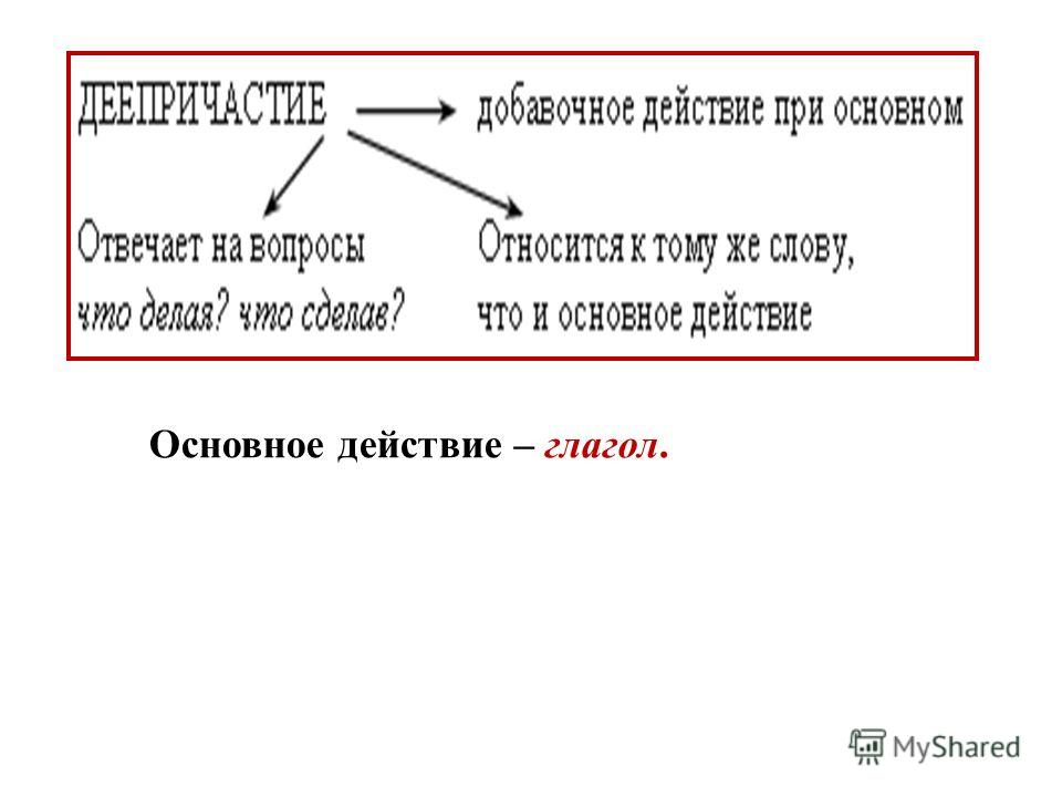 Основное действие – глагол.