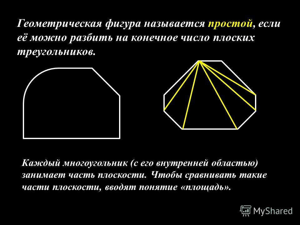 Геометрическая фигура называется простой, если её можно разбить на конечное число плоских треугольников. Каждый многоугольник (с его внутренней областью) занимает часть плоскости. Чтобы сравнивать такие части плоскости, вводят понятие «площадь».