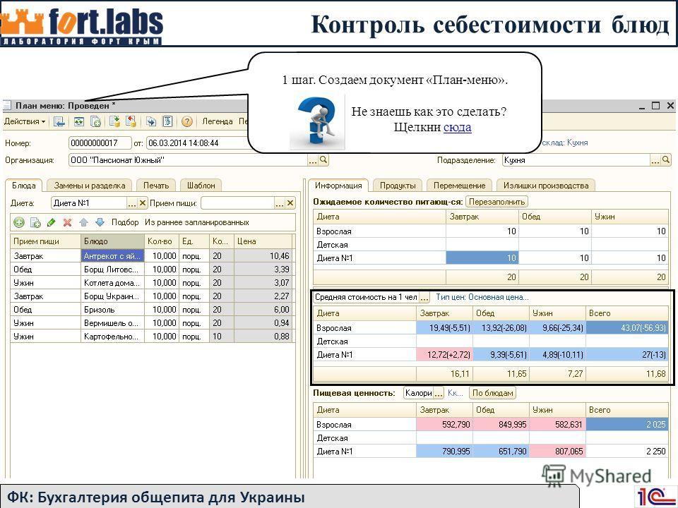 Контроль себестоимости блюд ФК: Бухгалтерия общепита для Украины 1 шаг. Создаем документ «План-меню». Не знаешь как это сделать? Щелкни сюдасюда