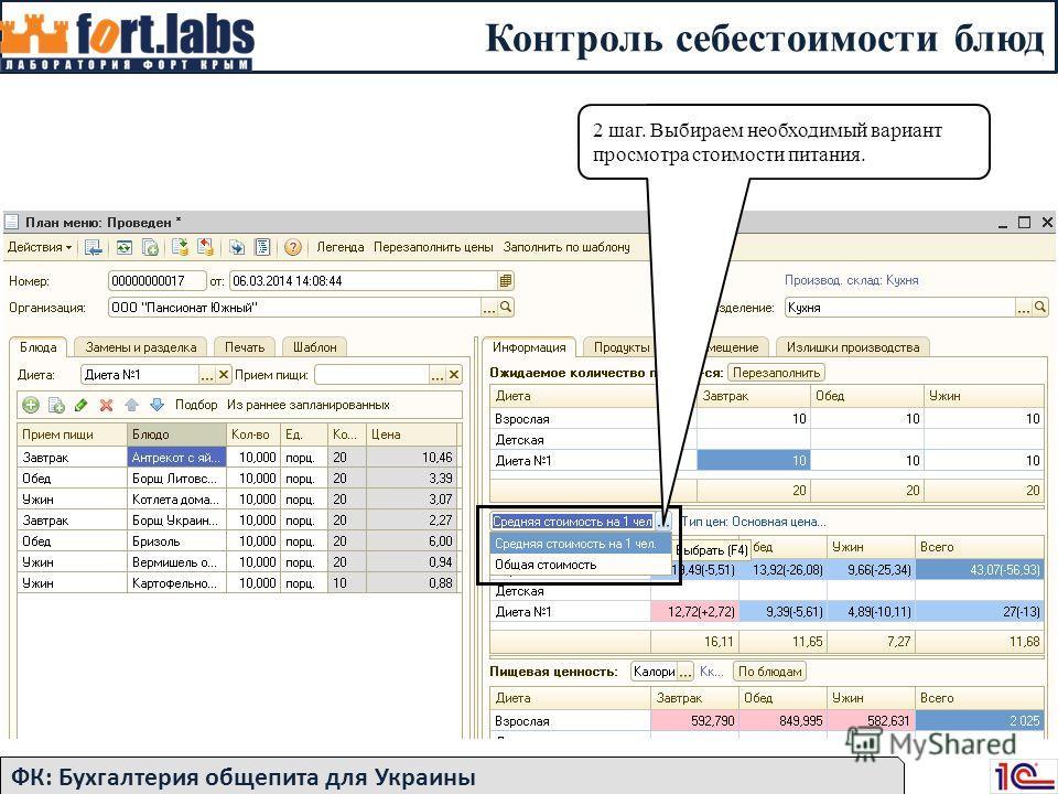 Контроль себестоимости блюд ФК: Бухгалтерия общепита для Украины 2 шаг. Выбираем необходимый вариант просмотра стоимости питания.