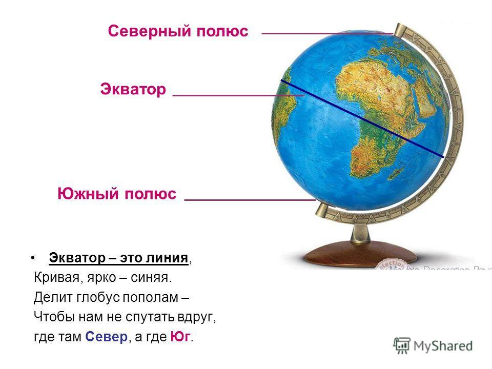 Экватор – это линия, Кривая, ярко – синяя. Делит глобус пополам – Чтобы нам не спутать вдруг, где там Север, а где Юг. Северный полюс Экватор Южный полюс