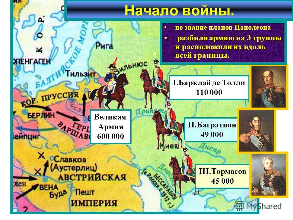 Летом 1812 г. французская ар-мия численностью 600 000 человек сосредоточилась на территории Польши. Начало войны. Великая Армия 600 000 II.Багратион 49 000 I.Барклай де Толли 110 000 III.Тормасов 45 000 Наполеон рассчитывал в при- граничном сражении