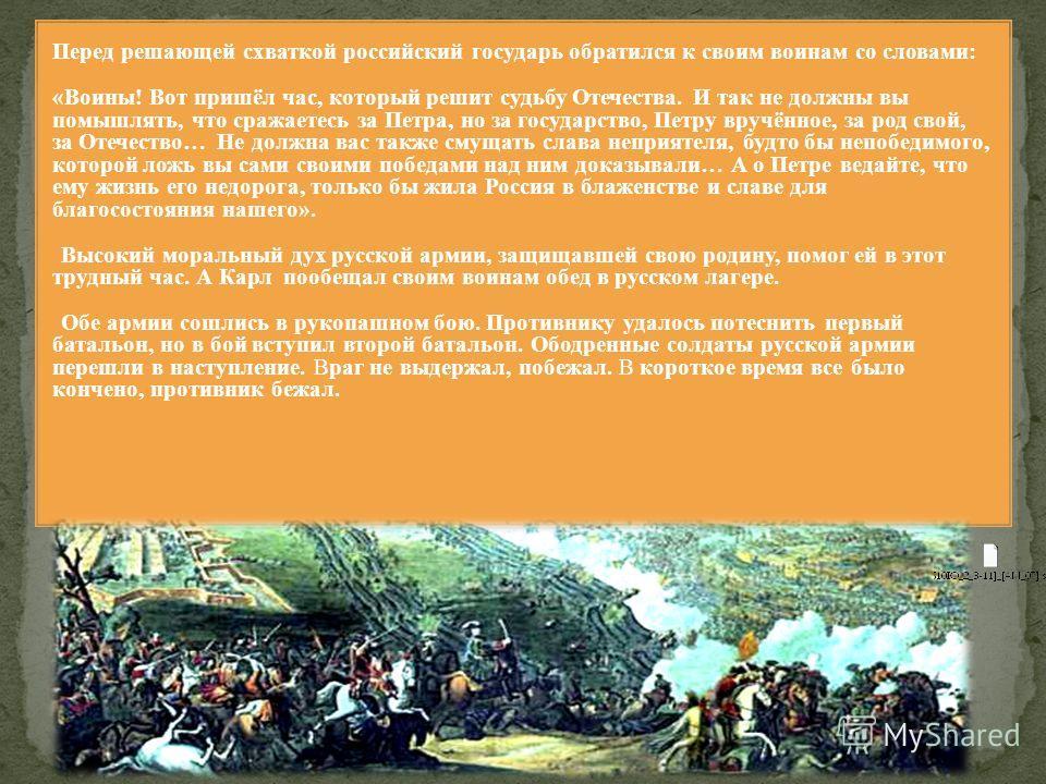 Русское командование основательно подготовилось к встрече с неприятелем. На подступах к русскому лагерю построили 6 редутов (насыпных земляных укреплений), перпендикулярно этой линии – ещё 4 редута. Это новшество явилось неожиданностью для шведов. Во