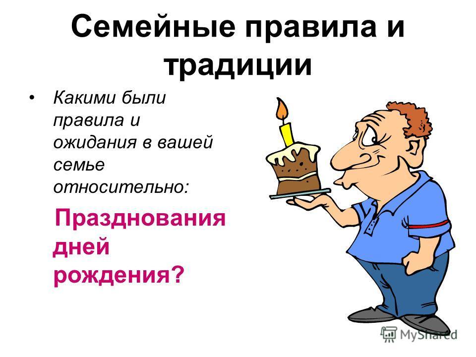 Семейные правила и традиции Какими были правила и ожидания в вашей семье относительно: Празднования дней рождения?