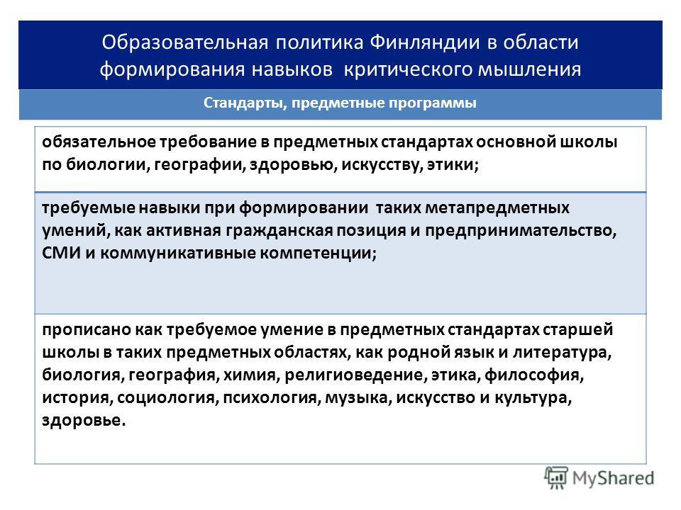 Стандарты, предметные программы Образовательная политика Финляндии в области формирования навыков критического мышления обязательное требование в предметных стандартах основной школы по биологии, географии, здоровью, искусству, этики; требуемые навык