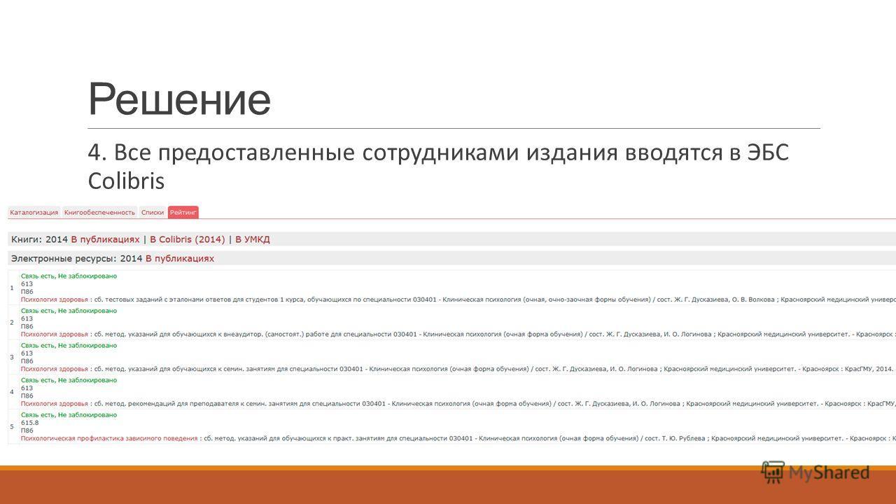 Решение 4. Все предоставленные сотрудниками издания вводятся в ЭБС Colibris