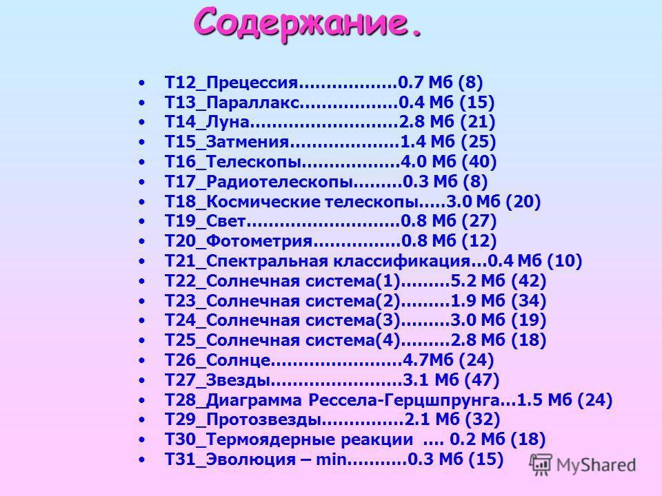 Содержание. Т12_Прецессия…..………….0.7 Мб (8) Т13_Параллакс.……………..0.4 Мб (15) Т14_Луна………………………2.8 Мб (21) Т15_Затмения………….…….1.4 Мб (25) Т16_Телескопы………………4.0 Мб (40) Т17_Радиотелескопы………0.3 Мб (8) Т18_Космические телескопы…..3.0 Мб (20) Т19_Свет…