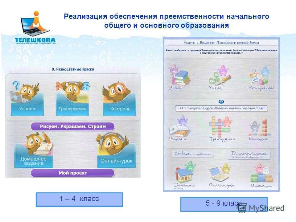 Реализация обеспечения преемственности начального общего и основного образования 5 - 9 класс 1 – 4 класс