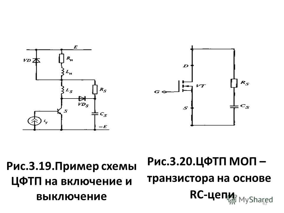 Рис.3.19.Пример схемы ЦФТП на включение и выключение Рис.3.20.ЦФТП МОП – транзистора на основе RC-цепи 43