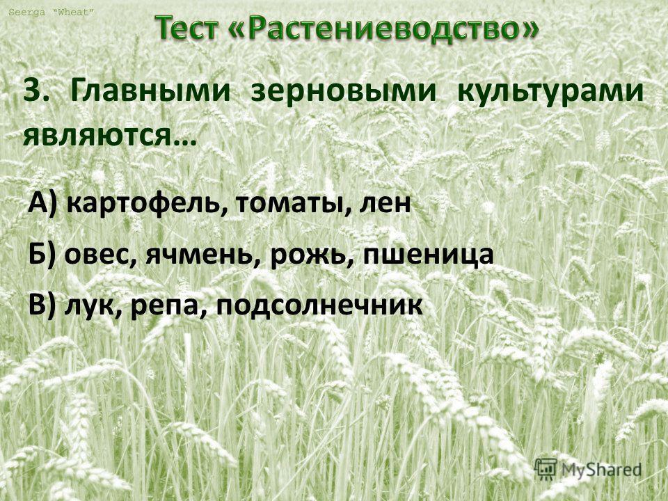 3. Главными зерновыми культурами являются… А) картофель, томаты, лен Б) овес, ячмень, рожь, пшеница В) лук, репа, подсолнечник