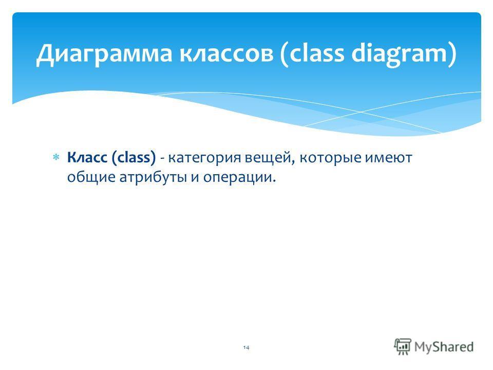 Класс (class) - категория вещей, которые имеют общие атрибуты и операции. Диаграмма классов (class diagram) 14