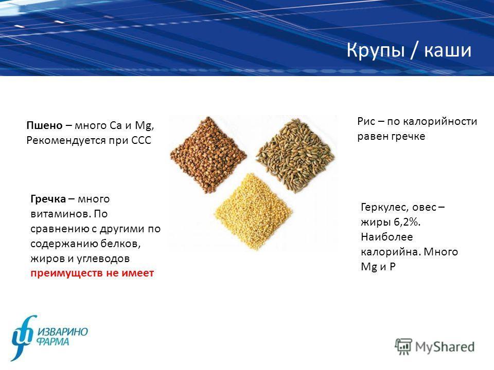 Крупы / каши Пшено – много Са и Mg, Рекомендуется при ССС Гречка – много витаминов. По сравнению с другими по содержанию белков, жиров и углеводов преимуществ не имеет Рис – по калорийности равен гречке Геркулес, овес – жиры 6,2%. Наиболее калорийна.