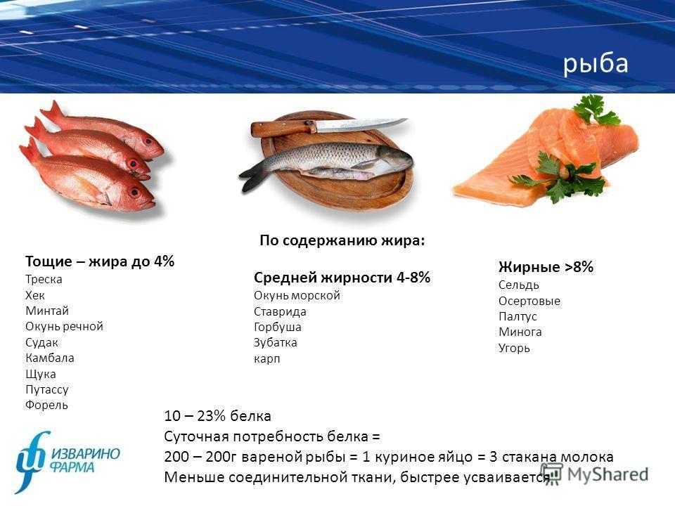 рыба 10 – 23% белка Суточная потребность белка = 200 – 200г вареной рыбы = 1 куриное яйцо = 3 стакана молока Меньше соединительной ткани, быстрее усваивается По содержанию жира: Тощие – жира до 4% Треска Хек Минтай Окунь речной Судак Камбала Щука Пут