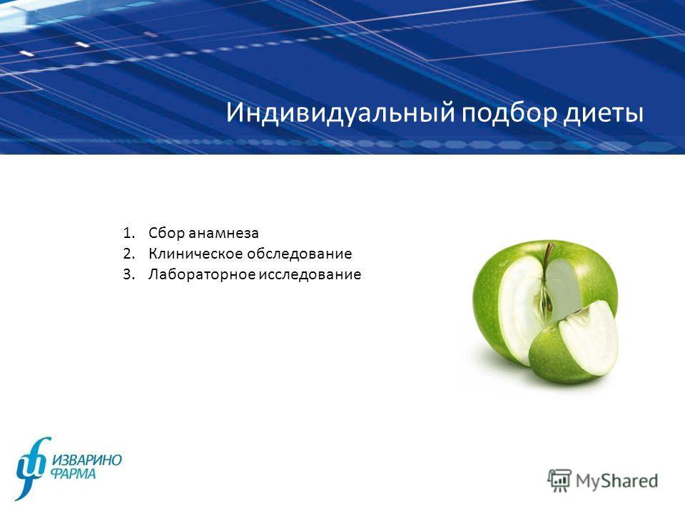 Индивидуальный подбор диеты 1.Сбор анамнеза 2.Клиническое обследование 3.Лабораторное исследование