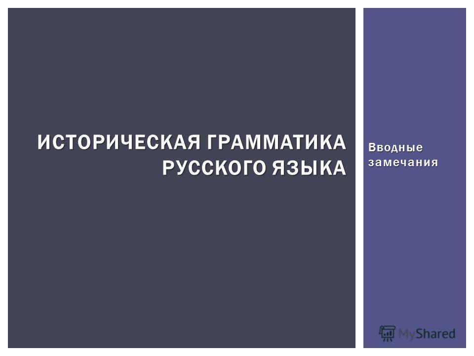 Вводные замечания ИСТОРИЧЕСКАЯ ГРАММАТИКА РУССКОГО ЯЗЫКА
