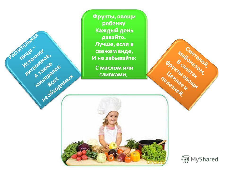 Растительная пища – Источник витаминов, А также минералов Всех необходимых. Фрукты, овощи ребенку Каждый день давайте. Лучше, если в свежем виде, И не забывайте: С маслом или сливками, Сметаной, майонезом, В салатах фрукты овощи Ценнее и полезней.