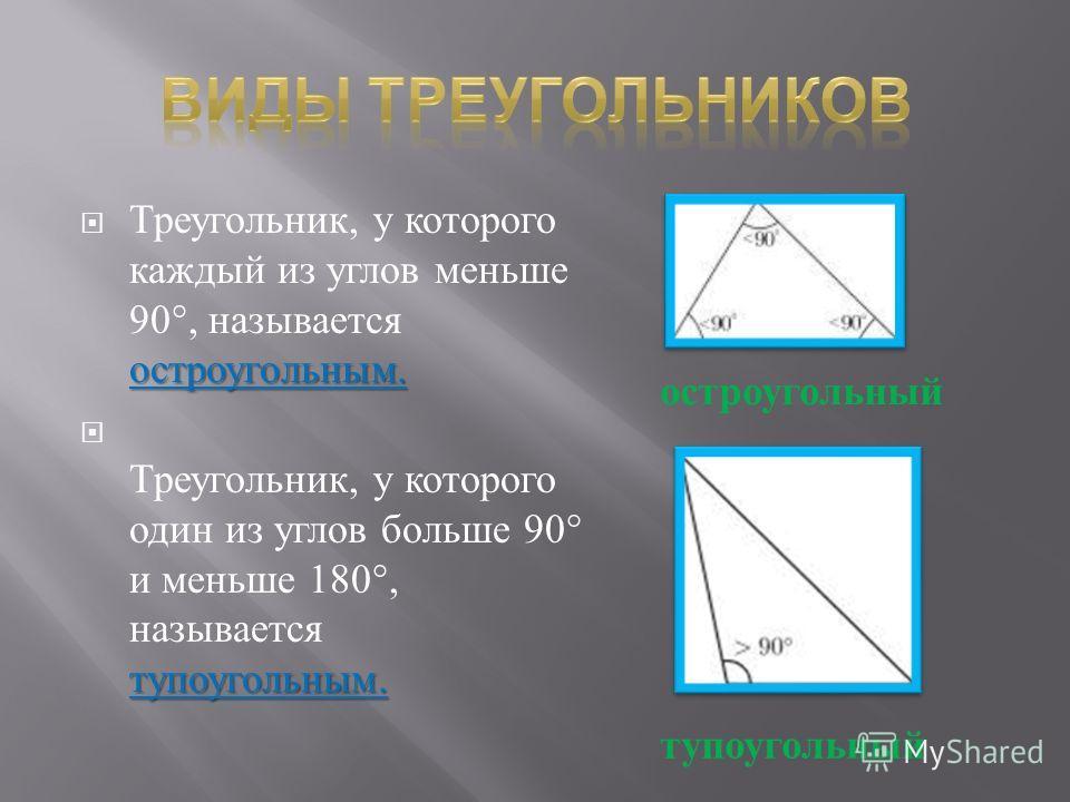 остроугольным. Треугольник, у которого каждый из углов меньше 90°, называется остроугольным. тупоугольным. Треугольник, у которого один из углов больше 90° и меньше 180°, называется тупоугольным. остроугольный тупоугольный