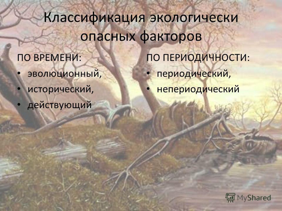 Классификация экологически опасных факторов ПО ВРЕМЕНИ: эволюционный, исторический, действующий ПО ПЕРИОДИЧНОСТИ: периодический, непериодический