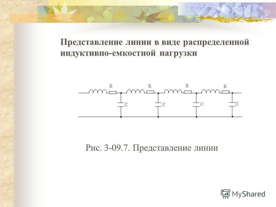 Представление линии в виде распределенной индуктивно-емкостной нагрузки R R RR C C C C Рис. 3-09.7. Представление линии