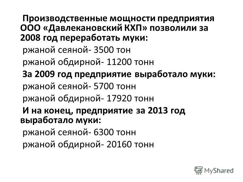 Производственные мощности предприятия ООО «Давлекановский КХП» позволили за 2008 год переработать муки: ржаной сеяной- 3500 тон ржаной обдирной- 11200 тонн За 2009 год предприятие выработало муки: ржаной сеяной- 5700 тонн ржаной обдирной- 17920 тонн