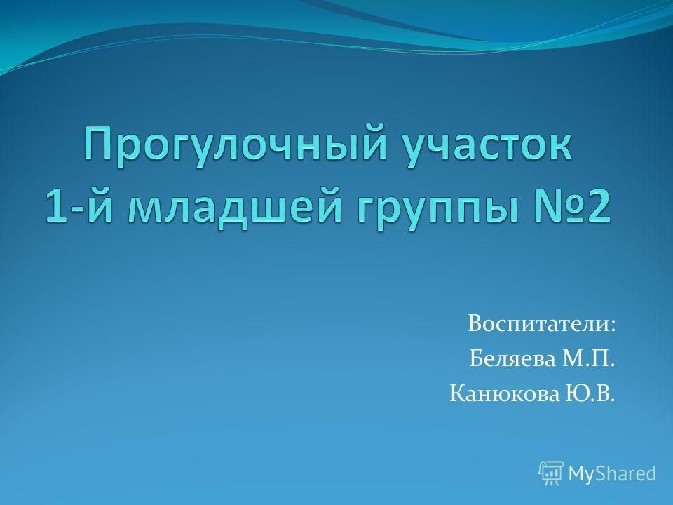 Воспитатели: Беляева М.П. Канюкова Ю.В.