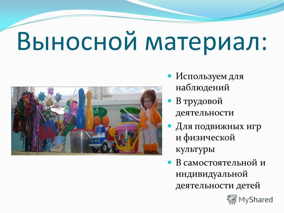 Выносной материал: Используем для наблюдений В трудовой деятельности Для подвижных игр и физической культуры В самостоятельной и индивидуальной деятельности детей