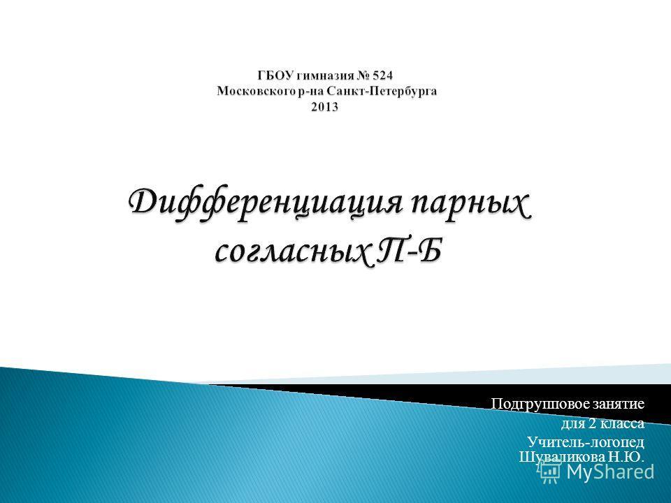 Подгрупповое занятие для 2 класса Учитель-логопед Шуваликова Н.Ю.