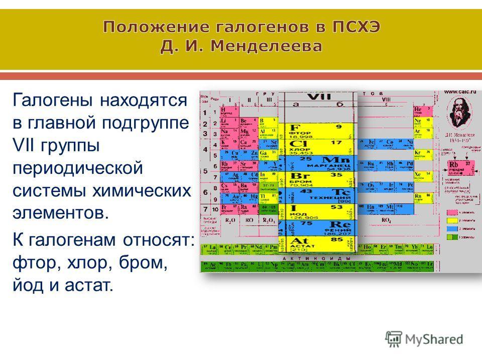 Галогены находятся в главной подгруппе VII группы периодической системы химических элементов. К галогенам относят : фтор, хлор, бром, йод и астат.