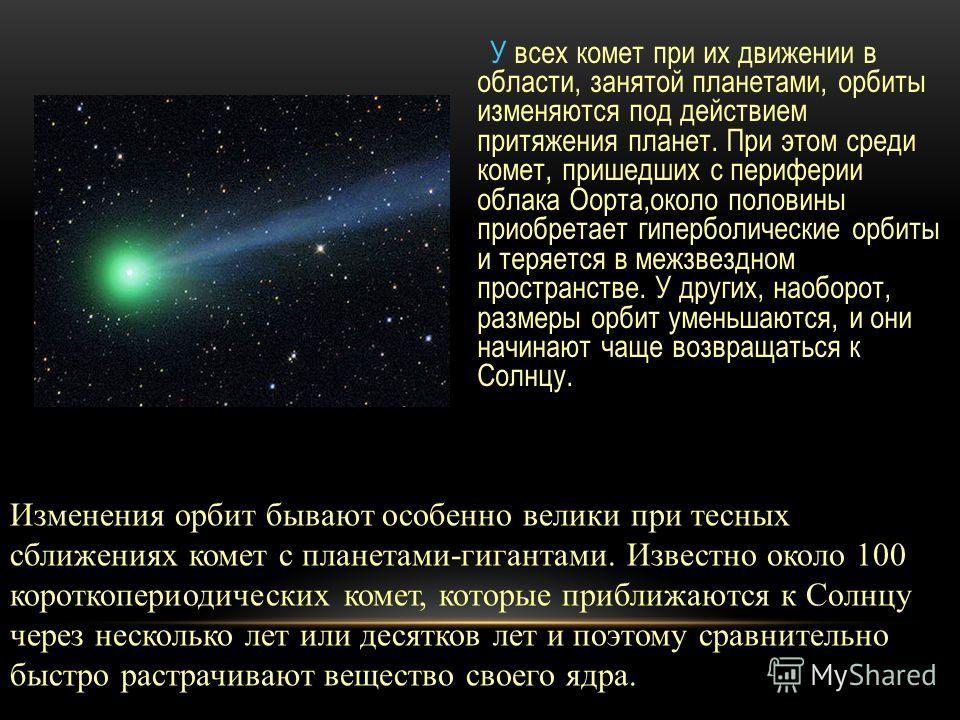 У всех комет при их движении в области, занятой планетами, орбиты изменяются под действием притяжения планет. При этом среди комет, пришедших с периферии облака Оорта,около половины приобретает гиперболические орбиты и теряется в межзвездном простран