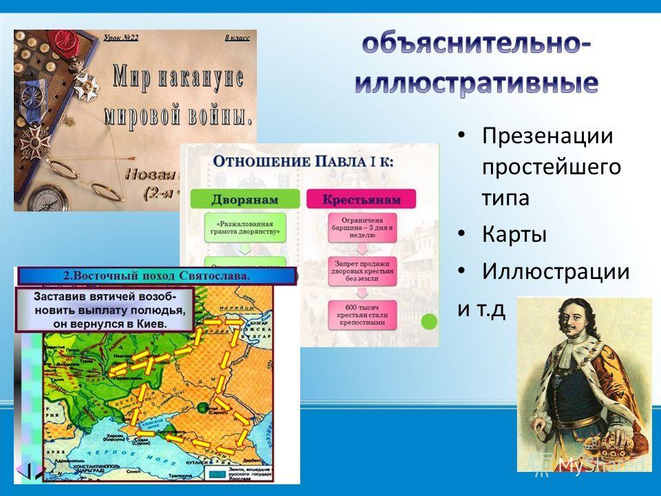 Презенации простейшего типа Карты Иллюстрации и т.д