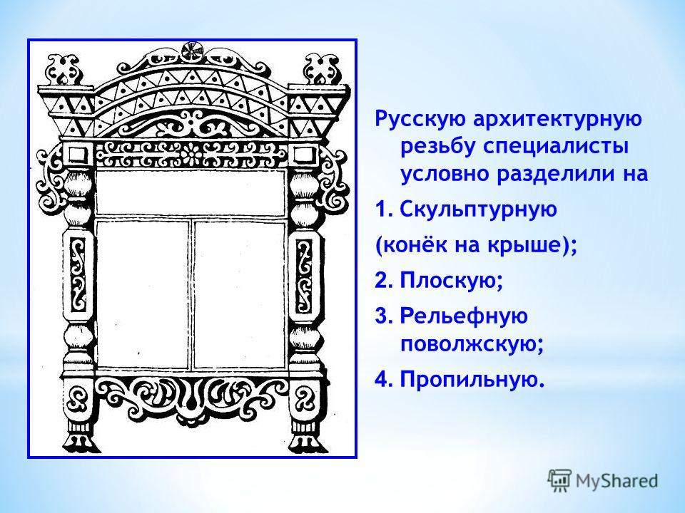 Русскую архитектурную резьбу специалисты условно разделили на 1. Скульптурную (конёк на крыше); 2. П лоскую; 3. Р ельефную поволжскую; 4. П ропильную.
