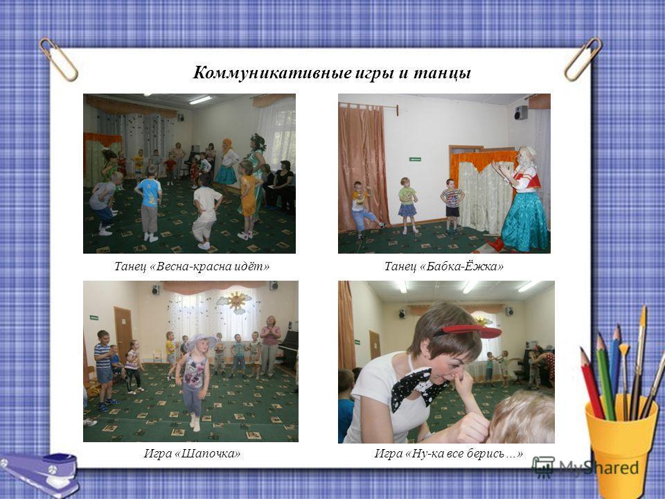 Коммуникативные игры и танцы Танец «Весна-красна идёт» Игра «Ну-ка все берись…» Танец «Бабка-Ёжка» Игра «Шапочка»