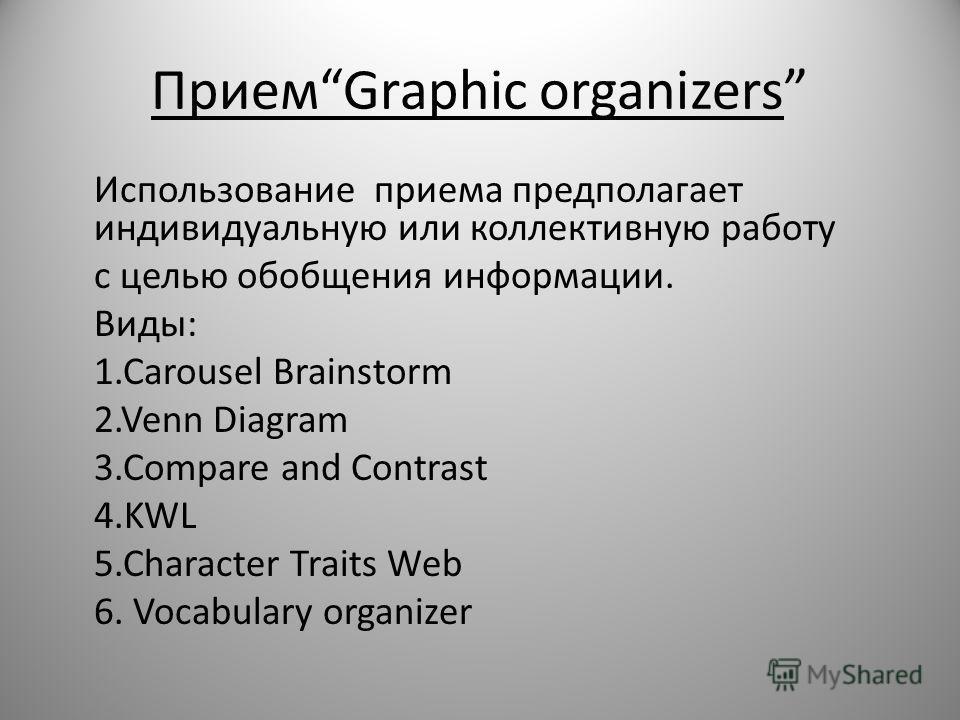 ПриемGraphic organizers Использование приема предполагает индивидуальную или коллективную работу с целью обобщения информации. Виды: 1.Carousel Brainstorm 2.Venn Diagram 3.Compare and Contrast 4.KWL 5.Character Traits Web 6. Vocabulary organizer