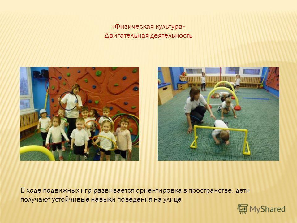 «Физическая культура» Двигательная деятельность В ходе подвижных игр развивается ориентировка в пространстве, дети получают устойчивые навыки поведения на улице