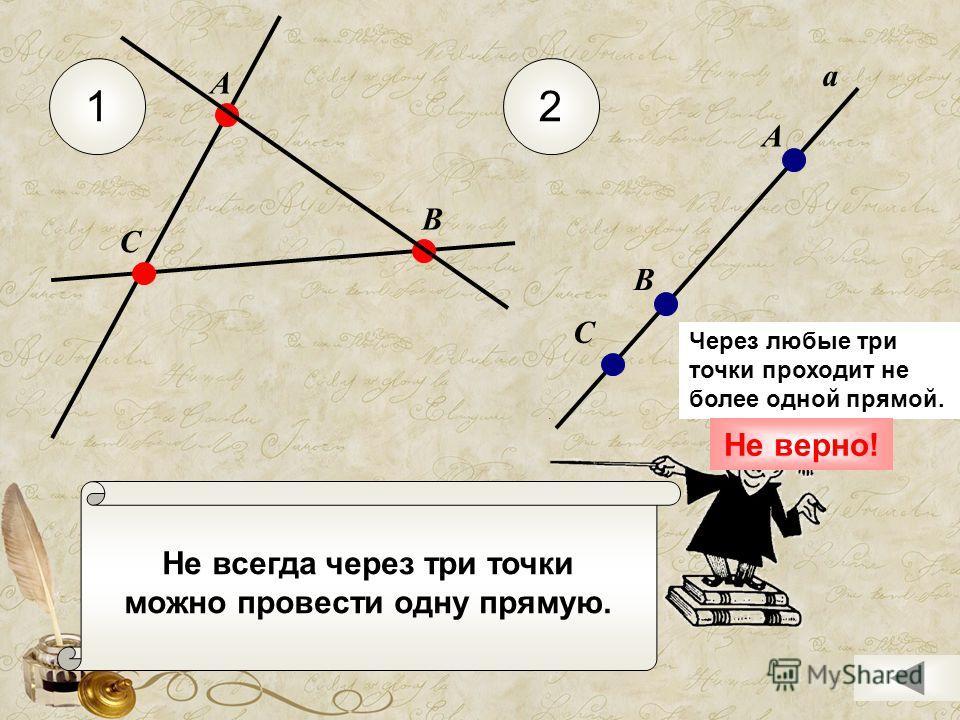 Не всегда через три точки можно провести одну прямую. 12 С А В а А В С Через любые три точки проходит не более одной прямой. Не верно!