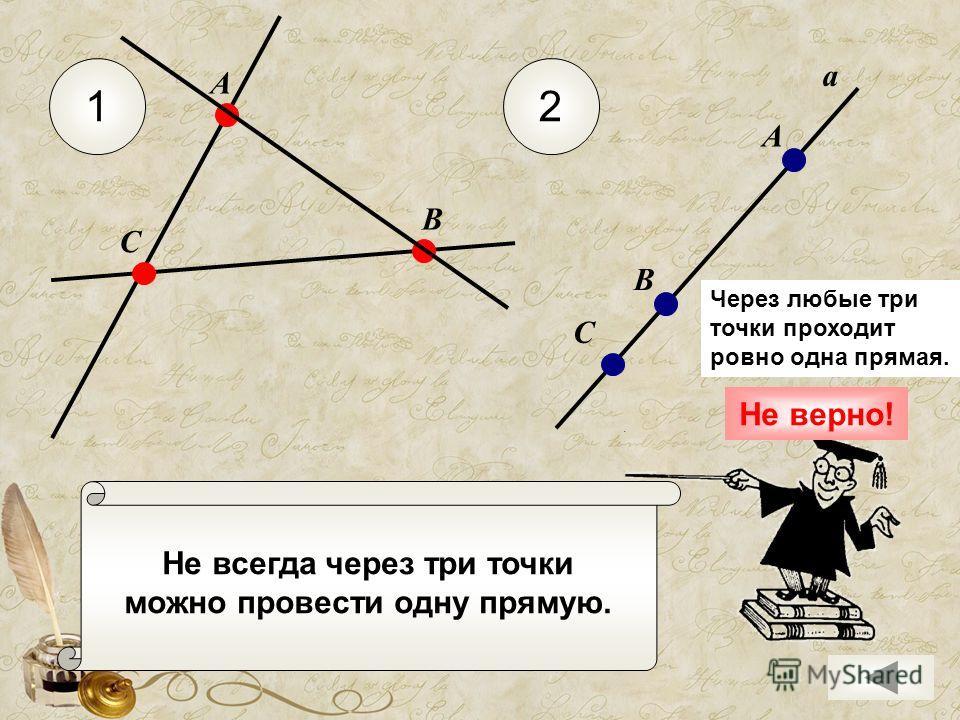 Не всегда через три точки можно провести одну прямую. 12 С А В а А В С Через любые три точки проходит ровно одна прямая. Не верно!