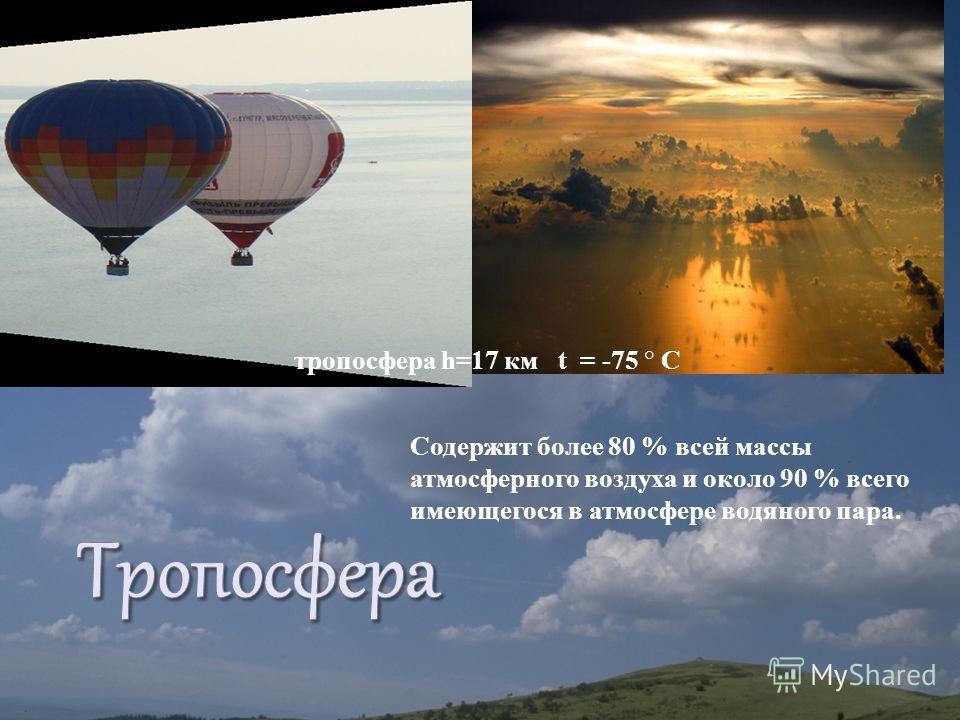 Содержит более 80 % всей массы атмосферного воздуха и около 90 % всего имеющегося в атмосфере водяного пара. тропосфера h=17 км t = -75 ° С