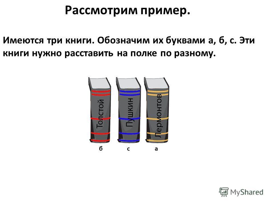 Рассмотрим пример. Имеются три книги. Обозначим их буквами а, б, с. Эти книги нужно расставить на полке по разному. бса