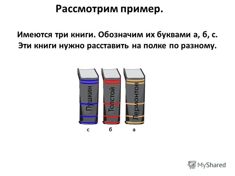 Рассмотрим пример. Имеются три книги. Обозначим их буквами а, б, с. Эти книги нужно расставить на полке по разному. сба