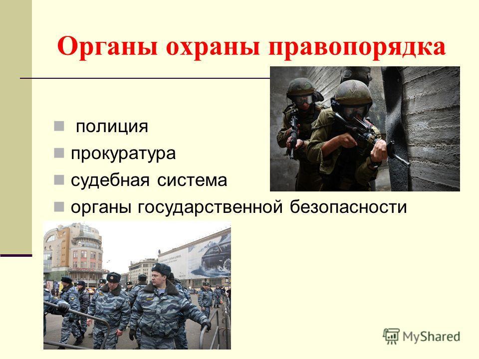 Органы охраны правопорядка полиция прокуратура судебная система органы государственной безопасности