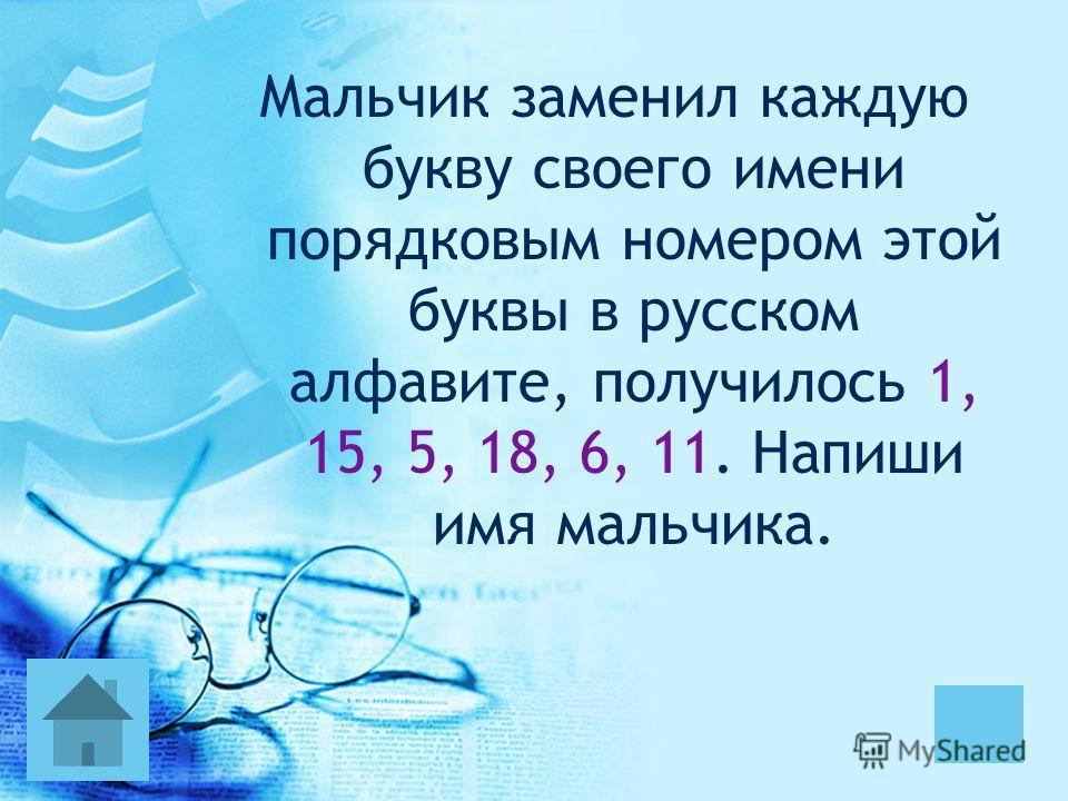 Мальчик заменил каждую букву своего имени порядковым номером этой буквы в русском алфавите, получилось 1, 15, 5, 18, 6, 11. Напиши имя мальчика.