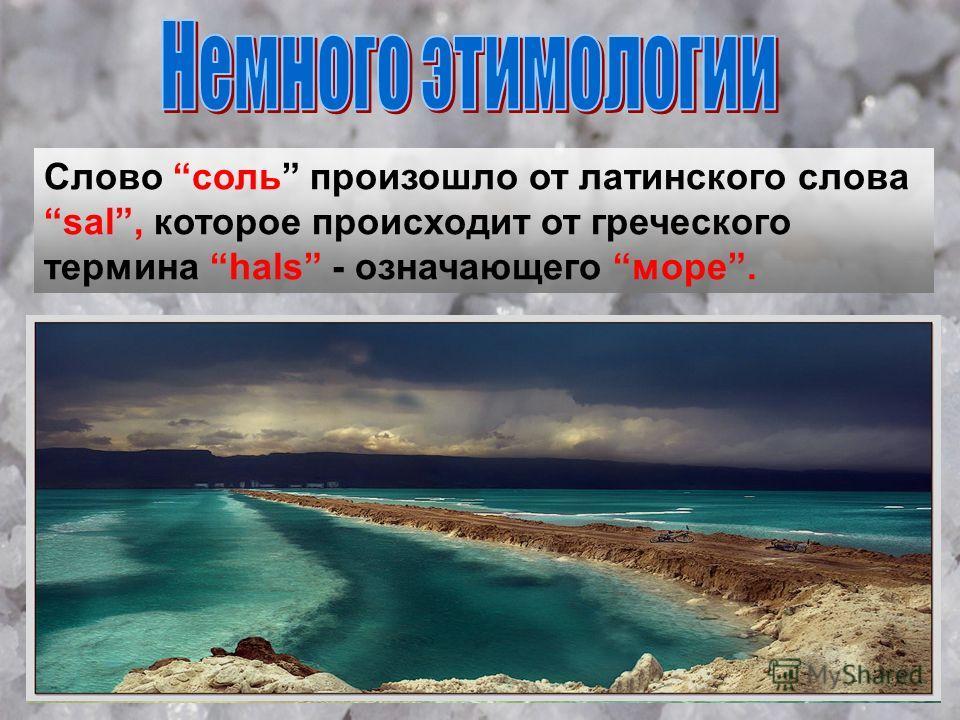 Слово соль произошло от латинского слова sal, которое происходит от греческого термина hals - означающего море.